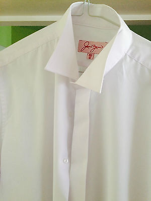 SLIM FIT Men's white Edwardian wing collar shirt  ex con wedding, xmas  party
