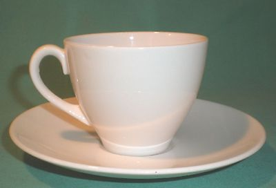 cup and saucer, plain white/ porcelain/China/British