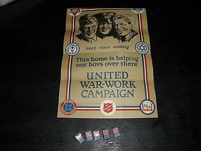 Original Ww 1 United War Work Campaign Poster W/5 Pins And Pledge Card