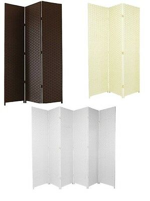 Hand Made Woven Room Dividers Square Top 3 or 6 Panel Screen White, Brown, Ivory