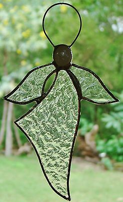 LUMINOUS TRANSLUCENT ANGEL Stained Glass SPIRITUAL Suncatcher ready to hang GIFT