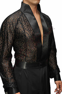 Men's Black Dance Shirt with Lace and Built in Bottoms