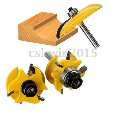 3Pcs 1/4'' Rail & Stile & Cove Raised Panel Router Bits Set Ogee Cutting Tools