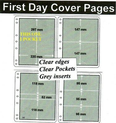 1 pocket clear edge clear pockets grey First day cover pages pack of 10 fdc