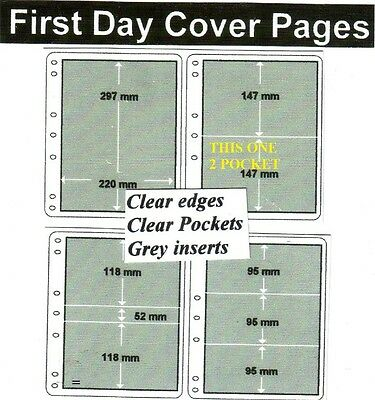 2 pocket clear edge clear pockets grey First day cover pages pack of 10 fdc