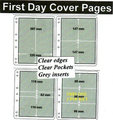 3 pocket clear edge clear pockets grey First day cover pages pack of 10 fdc