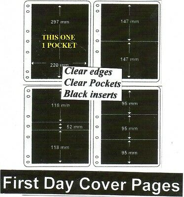 1 pocket clear edge clear pockets black First day cover pages pack of 10 fdc