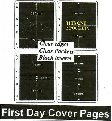 2 pocket clear edge clear pockets black First day cover pages pack of 10 fdc