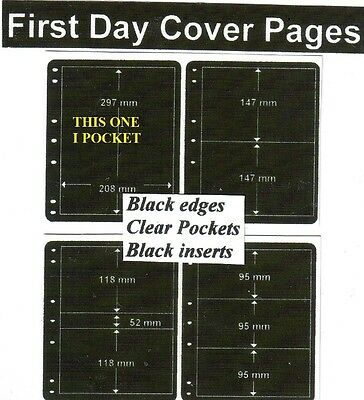 1 pocket Black edge & inerts clear pockets First day cover pages pack of 10 fdc