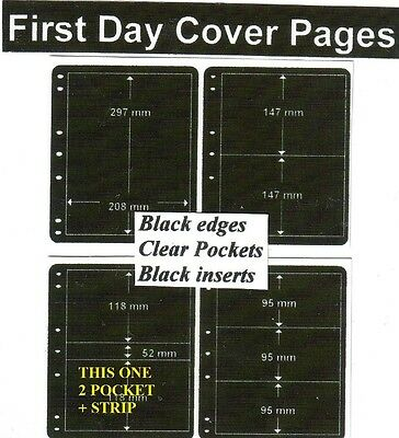 2 + pocket Black edge & inerts clear pockets First day cover pages pack of 10