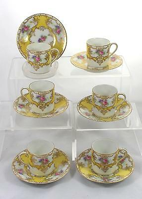 Set of 6 Antique 1891-1906 Dresden Porcelain Coffee Duos Rosenthal Excellent