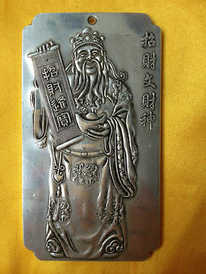 Collectibles Old Chinese Money God tibet Silver Bullion thanka amulet tibetan