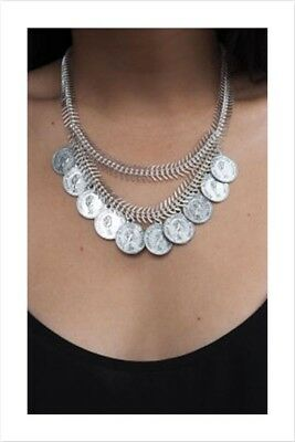 Gorgeous Costume Jewellery Fishbone Silver Chain Antique Coin Necklace