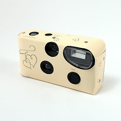 Disposable Cameras with Flash Ivory and Gold Hearts Favour Gift Pack of 8
