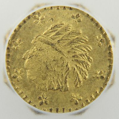 1857 California Gold Coin Octagonal Indian Token - Solid Gold (MS64)