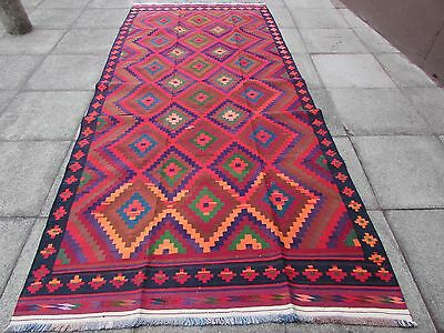 Old Hand Made Traditional Persian Oriental Colourful Wool Cotton Kilim 365x160cm
