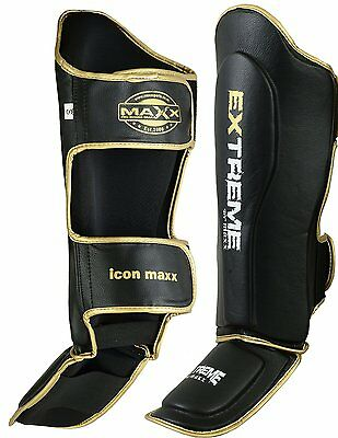 Maxx MAYA Leather Gel Shin Instep Pads MMA Leg Foot Guards Muay Thai Kick Boxing