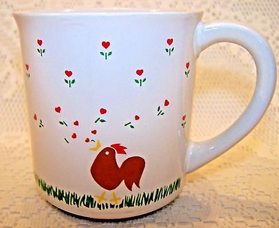 Anchor Hocking Coffee Mug Cup Rooster Heart Flowers Vintage 1982