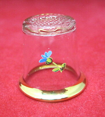 Vintage Thimble Clear Crystal W Tiny Blue Flower and Gold Rim Sweet! M7