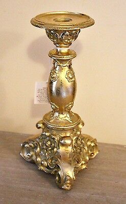 Luxury Ornate Baroque French Style Gold Candle Holder Candlestick Damask Resin