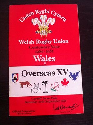 Wales V Overseas XV 1980 Centenary Rugby Union Programme