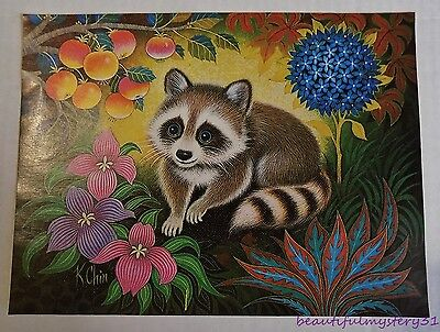 "1972 K CHIN VTG 9""x12"" BLUE EYE RACOON DONALD ART CO. LITHO PRINT MADE IN USA"