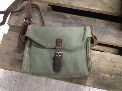 Nice! Vintage Swiss Army Military Shoulder Bag Leather and Canvas