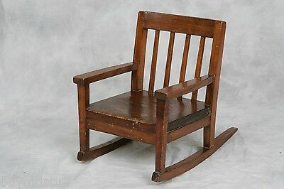 Antique Hand Made Mission Style Child's Wooden Rocking Chair