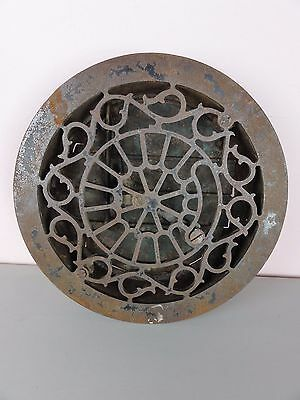 Antique Victorian Cast Iron Round Floor Vent Register Heat Grate Damper 10 3/8""