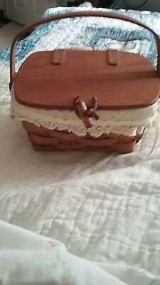 Longaberger Basket Vintage 1987 Small with Lid Leather Hinges and Closure With L