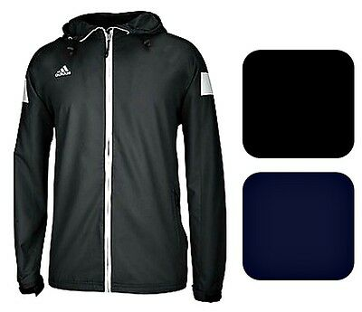 adidas Mens CLIMAPROOF Shockwave Full Zip Jacket Hooded Windbreaker Black & Navy
