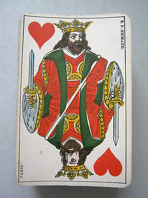 B P GRIMAUD NO INDICE BELGIAN GENOESE DESIGN 52 DECK 1870s ANTIQUE PLAYING CARDS
