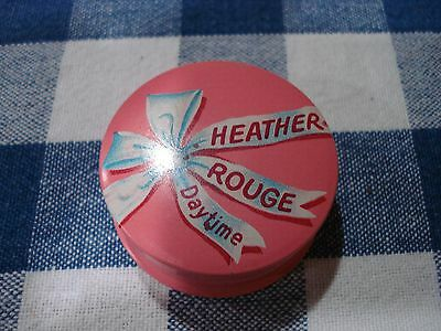 Vintage 1950's Pink Heather Rouge Daytime Powder Tin Beauty Aid