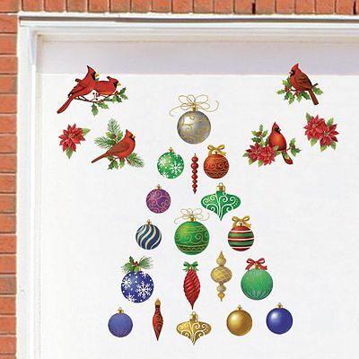 Set of 30 Classic Christmas Ornaments & Cardinal Outdoor Garage Magnets