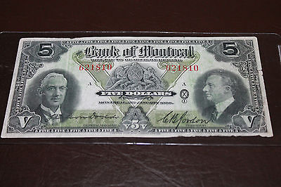 Rare Canada 1938 Bank of Montreal $5 Banknote Bill Currency