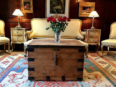 Beautiful Vintage Pine Bound Box Trunk Chest Coffee Table