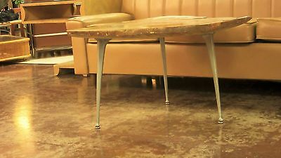 "3 MCM Industrial Aluminum Coffee Table Legs ""Gazelle"" (front) Shelby Williams"