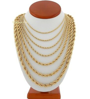 "Mens Rope Chain Necklace 2.5mm to 7mm 18"" 20"" 22"" 24"" 26"" 30"" 14k Gold Plated"