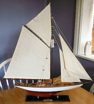 Wooden Model Boat Colombia Yacht Sail 60cmL 60cmH