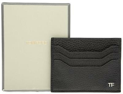 New Tom Ford Black Grain Leather Tf Logo Credit Card Id Case Wallet
