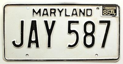 Maryland 1985 License Plate, JAY 587, Man's Name, Not Personalized or Vanity