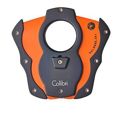 Colibri Cigar Cutter Monza Black & Orange Rubber 62 Ring Gauge Luxury Gift Boxed