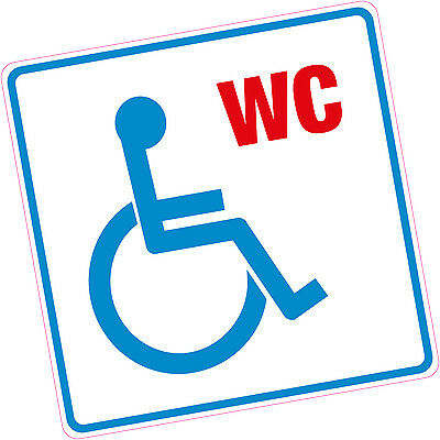 Disabled WC Vinyl Sticker Blue Badge Disability Access Shop Pub Office Toilet