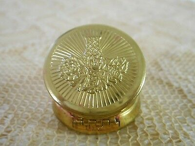 Vintage Metal Flower Small Lip Lipstick Rouge Mirror Compact Brass Gold