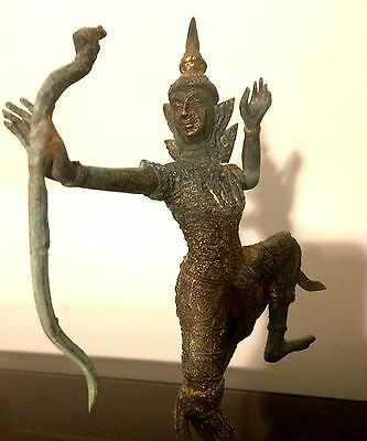 Bronze Lord Rama With Bow From Ramanaya On Plinth Some Gilding 25cm High