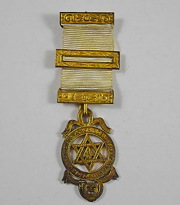 Antique Old Hallmarked Silver Gilt Ornate Masonic Jewel Medal