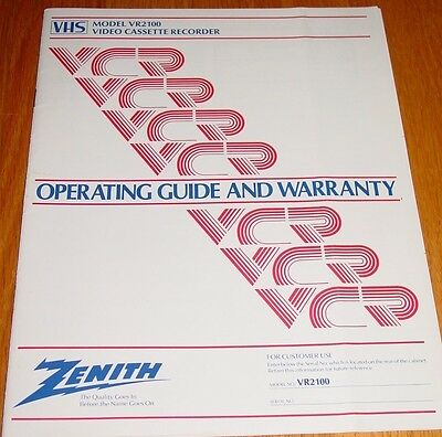Zenith VR2100 Video Cassette Recorder Operating Guide Instructions Manual