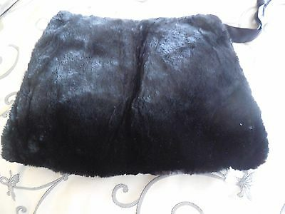 Gorgeous Vintage Black Sheared Beaver Fur Muff Satin Lined - GREAT GIFT !