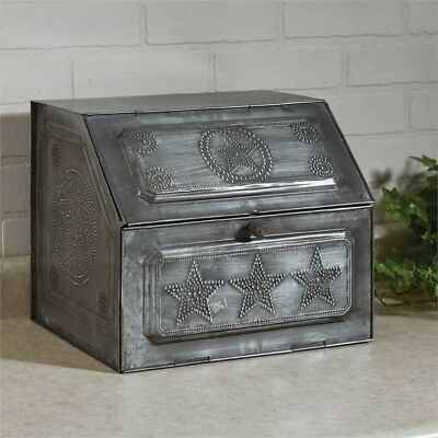 Antique Replica Vintage Style Black Star Metal Bread Box Park Designs
