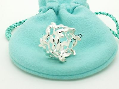 Tiffany & Co Sterling Silver Paloma Picasso Olive Leaf  Ring  Size 6.5 Pouch